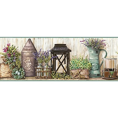 York Wallcoverings Country Keepsakes Garden 15' x 9'' Floral and Botanical Border Wallpaper