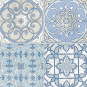 Norwall Wallcoverings Inc Kitchen Elements 32.7' x 20.5'' Portugese Tiles Wallpaper; Blue / Cream