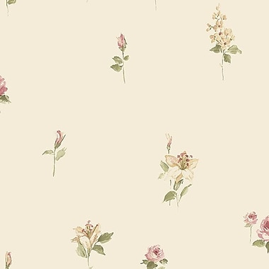Norwall Wallcoverings Inc Pretty Prints IV 32.7' x 20.5'' Red Rose Spot Wallpaper