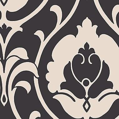 Norwall Wallcoverings Inc Shades 32.7' x 20.5'' Italian Damask Wallpaper Roll; Black / Taupe