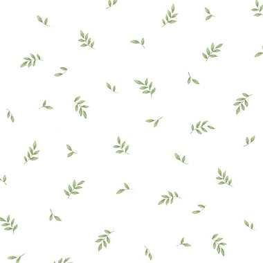 Norwall Wallcoverings Inc Kitchen Elements 32.7' x 20.5'' Kitchen Leaves Wallpaper; White / Green