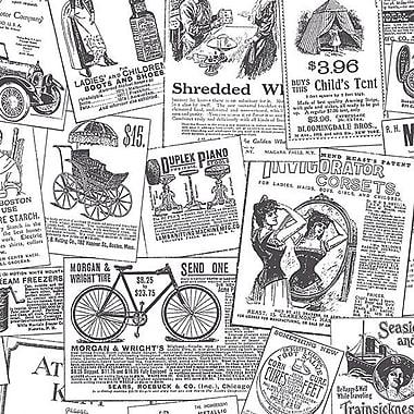 Norwall Wallcoverings Inc Fresh Kitchens V 32.7' x 20.5'' Newspaper Wallpaper; Black