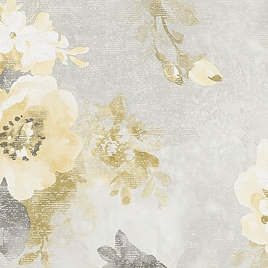 Norwall Wallcoverings Inc VIntage Damask 32.7' x 20.5'' Raised Ink Floral Wallpaper; Grey / Yellow