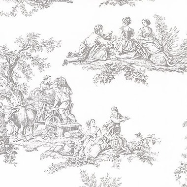 Norwall Wallcoverings Inc Grand Chateau 32.7' x 20.5'' Romantic Toile Wallpaper; Pale Grey