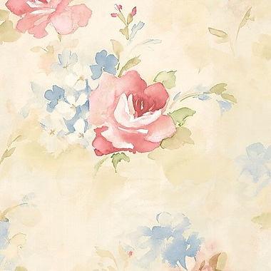Norwall Wallcoverings Inc Abby Rose III 32.7' x 20.5'' Morning Dew Wallpaper; Pink / Blue / Cream