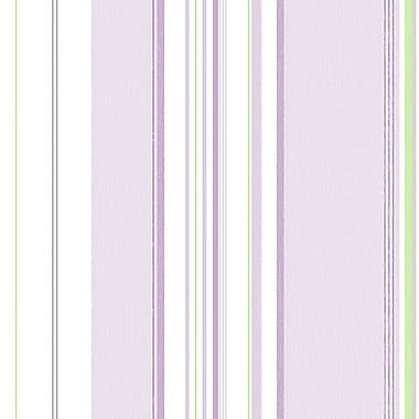 Norwall Wallcoverings Inc English Florals 32.7' x 20.5'' Multi Stripe Wallpaper; Purple / Green