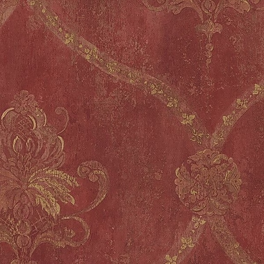 Norwall Wallcoverings Inc Grand Chateau 32.7' x 20.5'' Regal Damask Wallpaper Roll; Red / Ochre