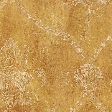 Norwall Wallcoverings Inc Grand Chateau 32.7' x 20.5'' Regal Damask Wallpaper Roll; Ochre
