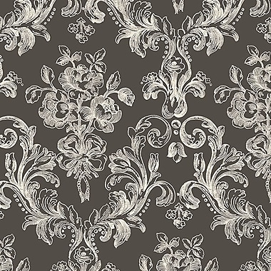 Norwall Wallcoverings Inc Grand Chateau 32.7' x 20.5'' Vintage Floral Wallpaper Roll; Black