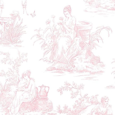 Norwall Wallcoverings Inc Grand Chateau 32.7' x 20.5'' Toile De Jouy Wallpaper; Pink