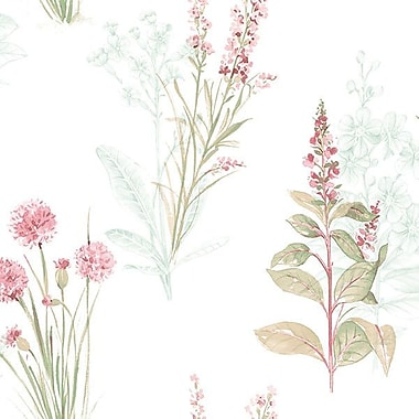 Norwall Wallcoverings Inc Abby Rose III 32.7' x 20.5'' Flora Wallpaper; Teal / Pink