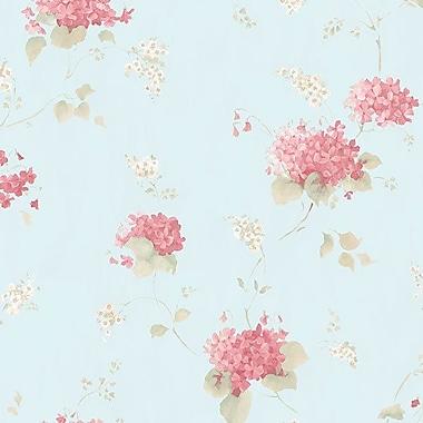 Norwall Wallcoverings Inc Pretty Prints IV 32.7' x 20.5'' Hortensia Trail Wallpaper; Teal / Pink