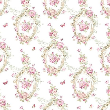 Norwall Wallcoverings Inc Pretty Prints IV 32.7' x 20.5'' Cameo Wallpaper; Pink / Beige / Yellow