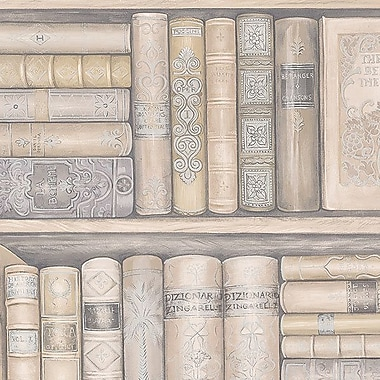 Norwall Wallcoverings Inc Illusions 32.7' x 20.5'' Bookcase Wallpaper; Cream / Grey