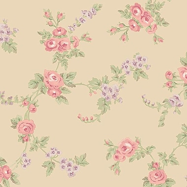 Norwall Wallcoverings Inc Abby Rose III 32.7' x 20.5'' Chic Rose Wallpaper; Purple / Pink / Green