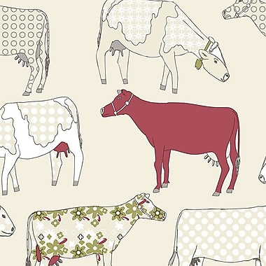 Norwall Wallcoverings Inc Kitchen Elements 32.7' x 20.5'' Cow Parade Wallpaper; Red / Cream