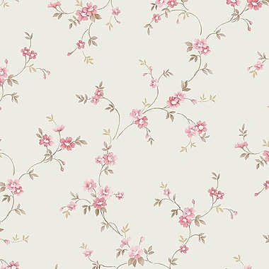 Norwall Wallcoverings Inc Floral Prints II 32.7' x 20.5'' Como Trail Wallpaper; Beige / Red / Brown