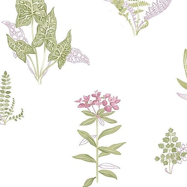 Norwall Wallcoverings Inc Paradise 32.7' x 20.5'' Ferns Wallpaper; Taupe / Cranberry / Green
