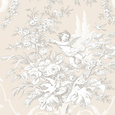 Norwall Wallcoverings Inc Grand Chateau 32.7' x 20.5'' Fabric Toile Wallpaper; Stone / Grey