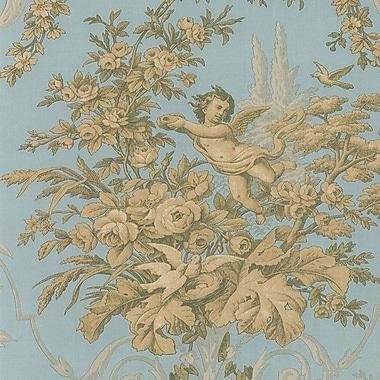 Norwall Wallcoverings Inc Grand Chateau 32.7' x 20.5'' Fabric Toile Wallpaper; Blend / Aqua