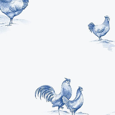 Norwall Wallcoverings Inc Kitchen Elements 32.7' x 20.5'' Delft Chicken Wallpaper; Blue