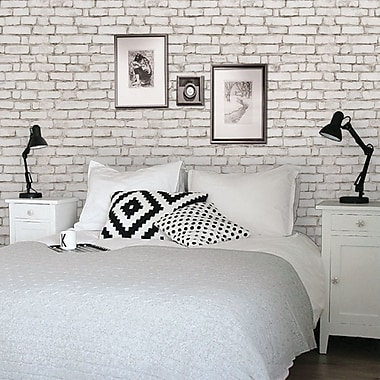 SimpleShapes Peel and Stick 4' x 24'' Brick Tile Wallpaper; White