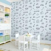 WallCandy Arts 2.17' x 26'' Toile Wallpaper; Blue / Black