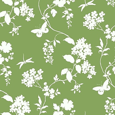 York Wallcoverings Silhouettes Trailing 27' x 27'' Floral 3D Embossed Wallpaper Roll; Green/White
