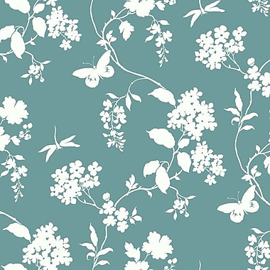 York Wallcoverings Silhouettes Trailing 27' x 27'' Floral 3D Embossed Wallpaper Roll; Teal/Cream
