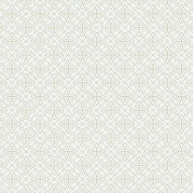 York Wallcoverings Silhouettes 27' x 27'' Lacey Interlocking Circles Wallpaper Roll; Gray / Cream