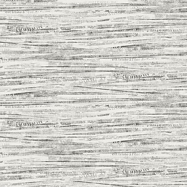 York Wallcoverings Black and White Newsprint 27' x 27'' Wallpaper Roll; Palest Gray and Graphite