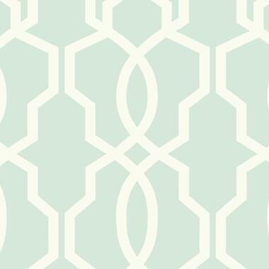 York Wallcoverings Ashford Geometrics 324' x 27'' Hourglass Wallpaper Roll; Light Aqua
