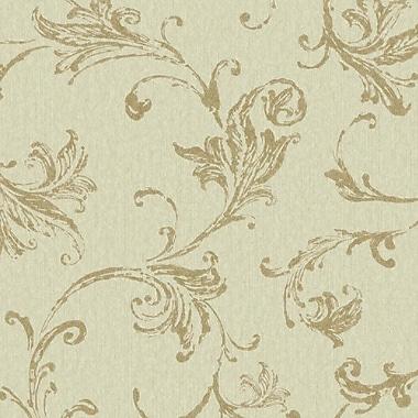 York Wallcoverings Impressions Burlap 27' x 27'' Scroll 3D Embossed Wallpaper; Gray / Gold