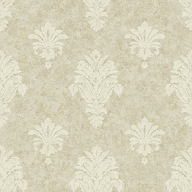 York Wallcoverings Impressions 33' x 20.5'' Damask Wallpaper; Pale Gold / White
