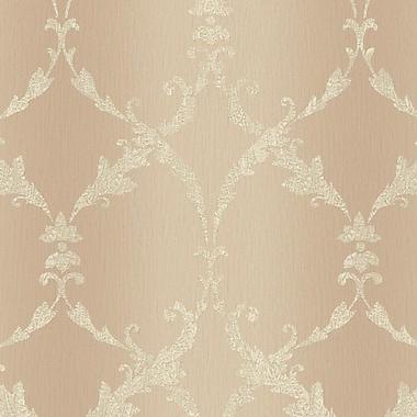 York Wallcoverings Impressions Gated 27' x 27'' Scroll Wallpaper; Peach / Cream