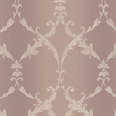 York Wallcoverings Impressions Gated 27' x 27'' Scroll Wallpaper; Lavender / Gray