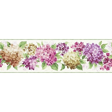 York Wallcoverings Kitchen and Bath Hydrangea 15' x 9'' Floral and Botanical Smooth Wallpaper Border