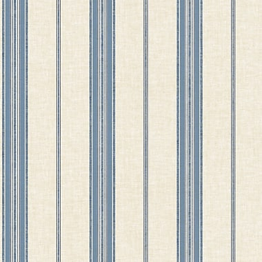 York Wallcoverings Cobalt Blues 33' x 20.5'' Stripes Roll Wallpaper