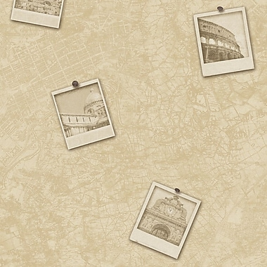 Vintage Classic Urban Photographic City Map World Traveler 32.97' x 20.8'' Abstract Wallpaper