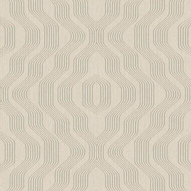 Walls Republic Geometric Modern Luxury Satin Swerve 32.97' x 20.8'' Geometric Wallpaper; Taupe