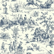 York Wallcoverings Ashford Toiles Seasons Toile 27' x 27'' Scenic Roll Wallpaper; Navy/Off-white
