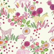 York Wallcoverings Waverly Kids 27' x 27'' Botanical Wallpaper; White, Pink, Green, Yellow/gold