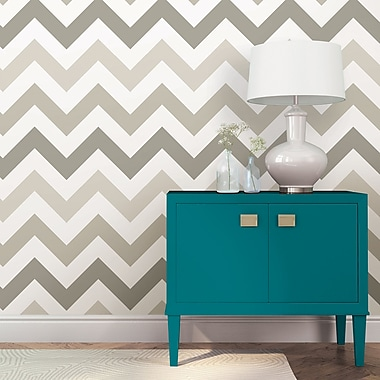 WallPops! Taupe Zig Zag Peel And Stick Wallpaper