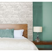 WallPops! Grey and White 18' x 20.5'' Brick Peel And Stick Wallpaper Roll