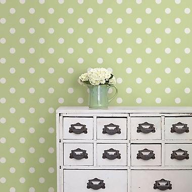 WallPops! Dottie Peel And Stick 18' x 20.5'' Polka Dot Wallpaper; Green