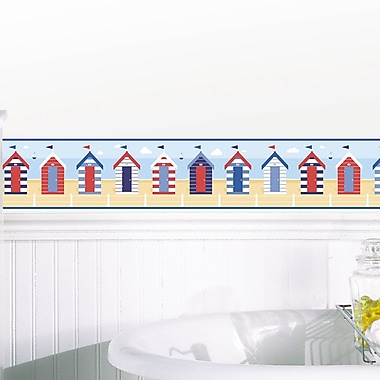 WallPops! 16.3' x 5.9'' Beach Huts Peel and Stick Border Wallpaper (Set of 2); Multicolor