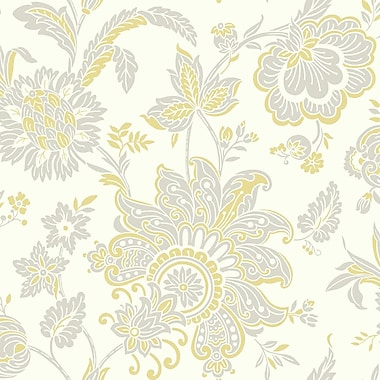 York Wallcoverings Pattern Play 33' x 20.5'' Arabella Wallpaper; White / Yellow / Light Taupe
