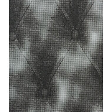 Walls Republic Relax Faux Tufted Leather 32.97' x 20.8'' Geometric Wallpaper; Black