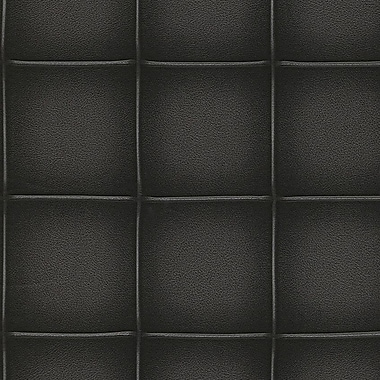 Walls Republic Contemporary Faux Leather 32.97' x 20.8'' Embossed Panel Wallpaper; Black