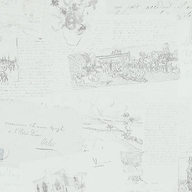 Walls Republic Letters from Van Gogh 32.97'' x 20.8'' Abstract Wallpaper; Light Gray